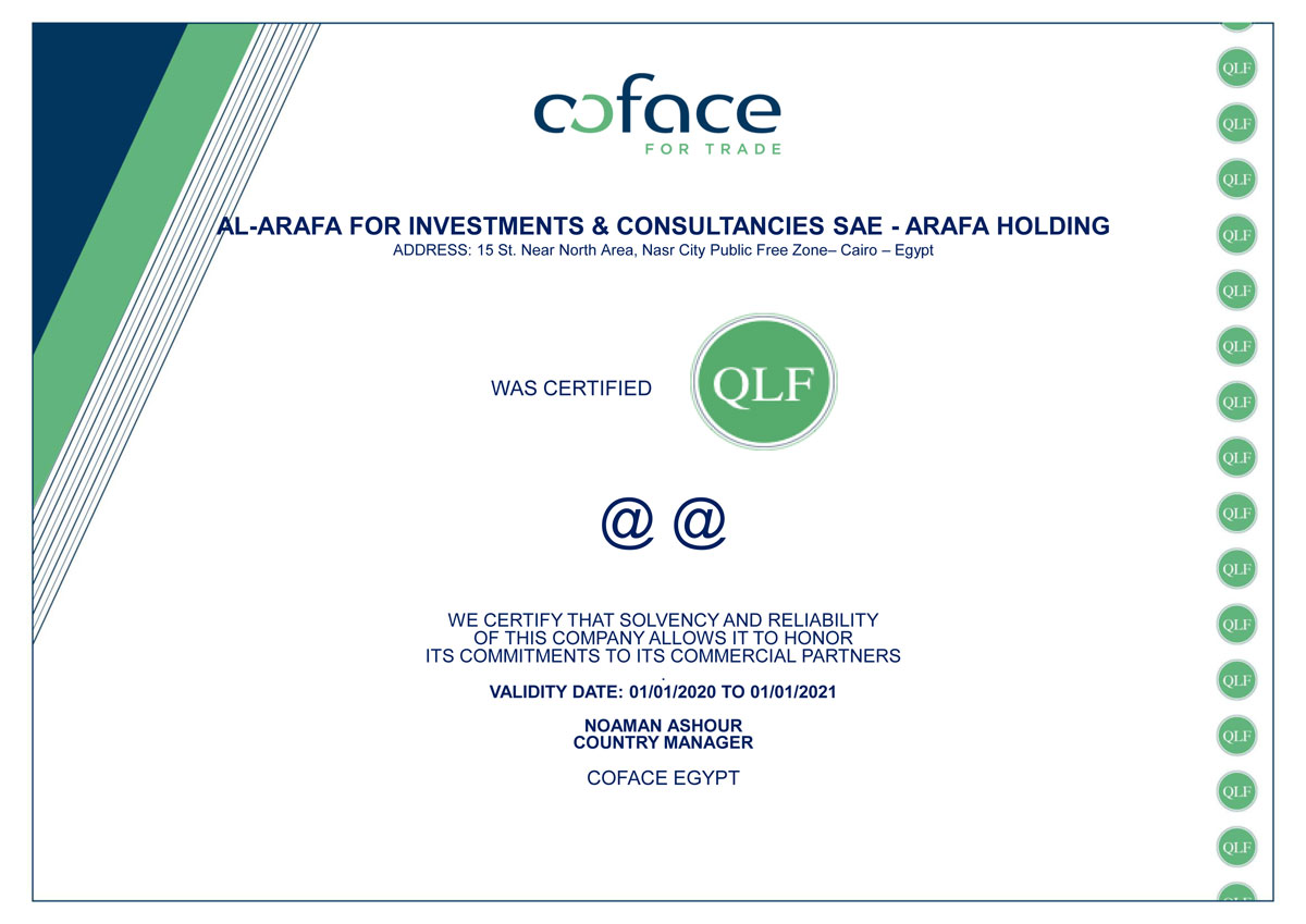 Coface Quality Label Certificate